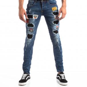 Slim Jeans albaștri cu aplicații și patch-uri pentru bărbați