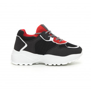 Pantofi sport ușori pentru dama roșu și negru