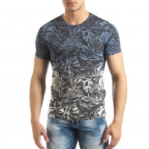 Tricou albastru pentru bărbați motiv Leaves  2
