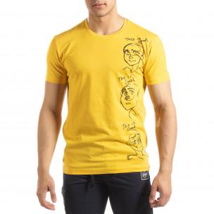 Tricou pentru bărbați galben cu imprimeu