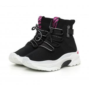 Pantofi sport de dama din țesătură neagră cu accent roz 2