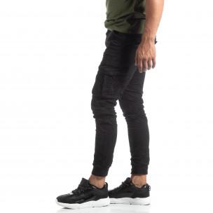 Pantaloni cargo șifonați negri pentru bărbați