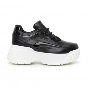 Pantofi sport de dama negri cu părți lăcuite