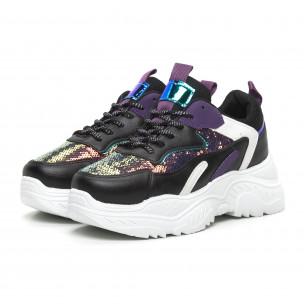 Pantofi sport de dama negri cu accente violet 2