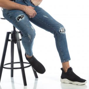 Blugi de bărbați albaștri cu imprimare de patch-uri