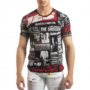 Tricou negru pentru bărbați Exclusive News