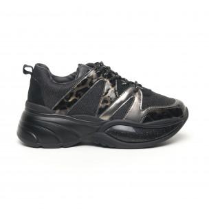 Pantofi sport de dama cu talpă voluminoasă și brocart