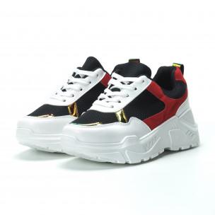 Pantofi sport pentru dama în alb-negru-roșu cu talpă groasă  2
