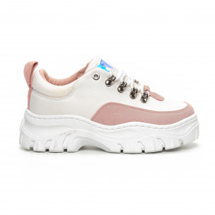 Pantofi sport de dama în alb și roz cu talpă groasă
