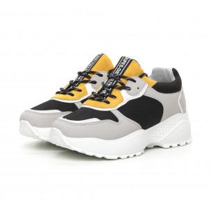 Pantofi sport ușori pentru dama gri și galben 2