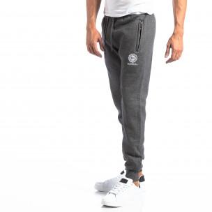 Pantaloni sport gri cu logo pentru bărbați