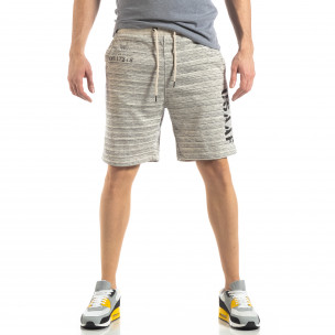 Pantaloni sport scurți de bărbați în melanj alb 2