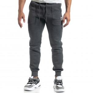 Pantaloni de trening de bărbați gri cu buzunare aplicate