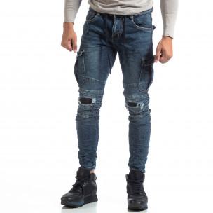 Cargo Jeans albaștri de bărbați stil rocker  2