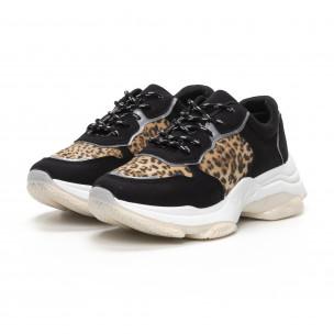 Pantofi sport de dama Chunky în negru și leopard 2