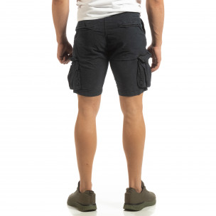 Pantaloni cargo scurți de bărbați Slim fit albaștri  2