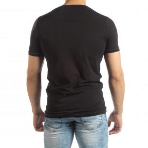 Tricou negru de bărbați cu imprimeu cauciucat  2