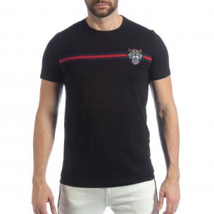 Tricou pentru bărbați negru cu banda și broderie  2