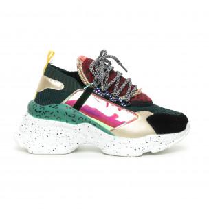 Pantofi sport Chunky de dama design Patchwork