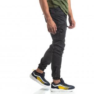 Pantaloni negri de bărbați cu buzunare cu fermoar