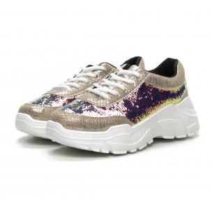 Pantofi sport Chunky de dama cu paiete aurii 2