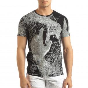 Tricou negru de bărbați cu imprimeu figural