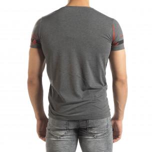 Tricou de bărbați melanj gri cu imprimeu 2
