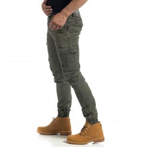 Pantaloni cargo de bărbați verzi cu fermoare