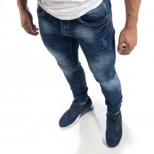 Blugi de bărbați albaștri Washed Slim fit 2