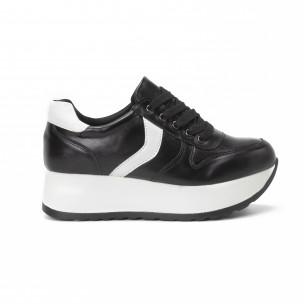 Pantofi sport cu platforma de dama în negru și alb