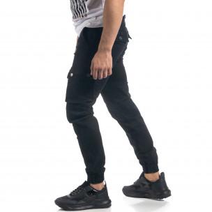 Pantaloni de bărbați negri cu buzunare cargo