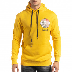Hanorac galben din bumbac cu imprimeu pe spate