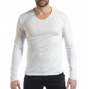 Bluză în alb V-neck pentru bărbați