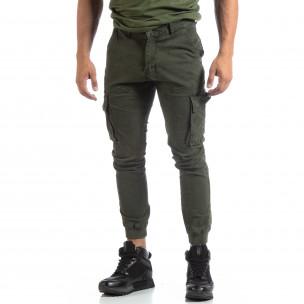 Pantaloni cargo verzi de bărbați cu manșete din tricot 2