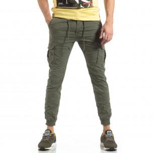Pantaloni cargo de bărbați verzi cu manșete din tricot 2