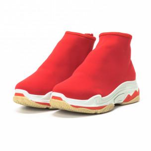 Pantofi sport Slip-on de dama din neopren roșu  2