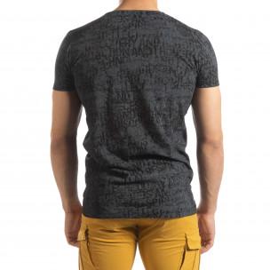 Tricou de bărbați Vintage în culoarea grafitului  2