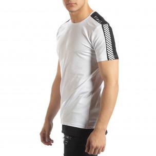 Tricou de bărbați alb cu margine neagră