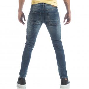 Washed Jeans de bărbați albaștri cu rupturi 2