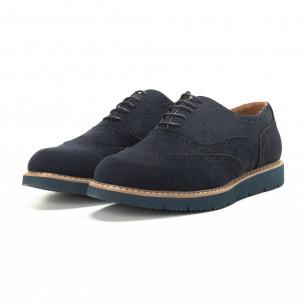 Pantofi casual Wingtip din velur albastru pentru bărbați  2