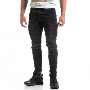 Cargo Jeans negri de bărbați stil rocker  2