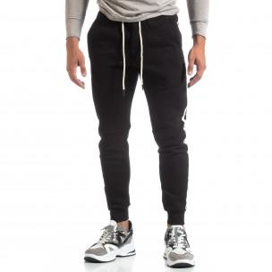 Pantaloni sport de bărbați flaușați negri cu banda albă  2