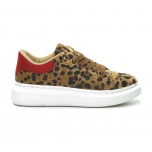 Teniși de dama leopard cu călcâi roșu