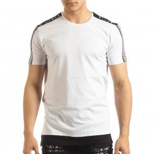 Tricou de bărbați alb cu margine neagră  2
