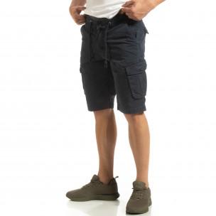 Bermude cargo pentru bărbați albastre cu elastic în talie