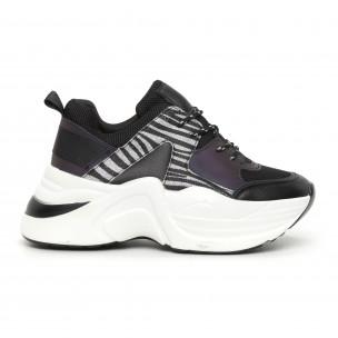 Pantofi sport voluminoși de dama negru și zebră