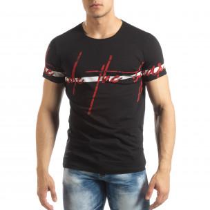 Tricou de bărbați negru cu imprimeu