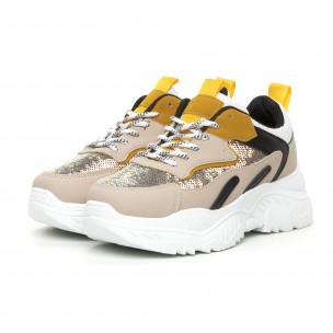 Pantofi sport de dama Chunky cu accente galbene 2