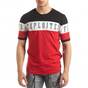 Tricou de bărbați în negru, alb și roșu