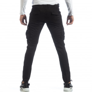 Pantaloni de bărbați negri cu buzunare cargo  2